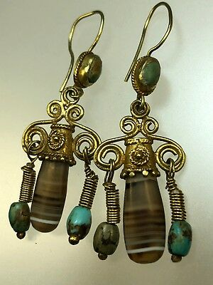Antique Ancient Pre Islamic Persia Earrings Turquoise Solomon Agate 200 BC 500AD