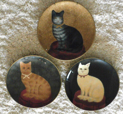 THREE Vintage DECORATIVE CAT PLATES with Wire Plate Hangers by RAYMOND WAITES