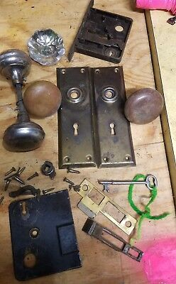 Lot Of vintage Door Knobs - Brass, Glass and lock and skeleton key