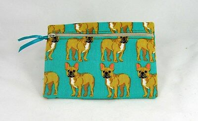 French Bulldog Print  Zippered Lined Cotton Fabric Cosmetic Pouch Handmade