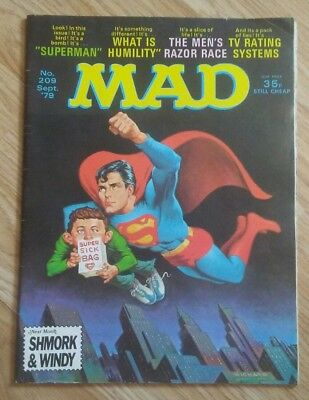 VINTAGE MAD MAGAZINE HUMOUR COMIC No. 209 Sept 1979 SUPERMAN