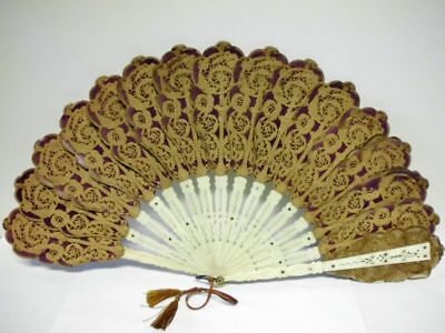 antiker Papierspitze-Fächer-19. Jahrhundert/ antique 19th century paper-lace fan