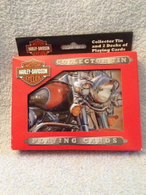 Vintage 2003 Harley Davidson Collector's Tin & 2 Decks Playing Cards