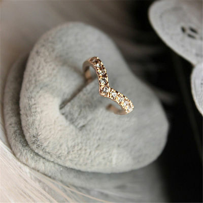 Fashion Women Ring Love Crystal Rhinestone Gold Plated Lady Charm Jewelry Rings