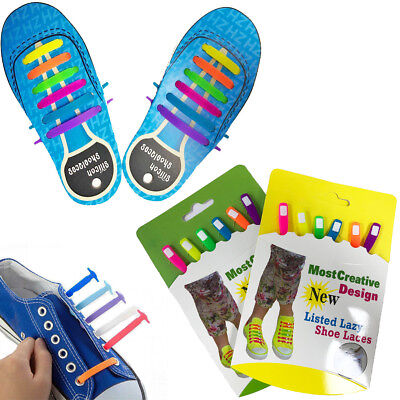 Silicone Shoe Laces  Elastic NO TIE Easy Adult Kids Lazy Trainers Shoes Canvas