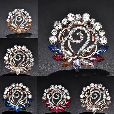 Vintage Lady Crystal Flowers Brooches Pin Jewelry Scarf Accessory Gift Fashion