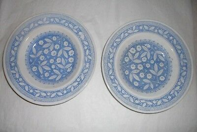 Antique English Old Hall E-ware (L) Porcelain Pompadour Plates Mid 1880's Blue