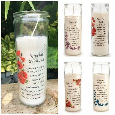 Glass Vase Memorial Candle, Remembrance, Graveside, Assorted Relatives, Gift