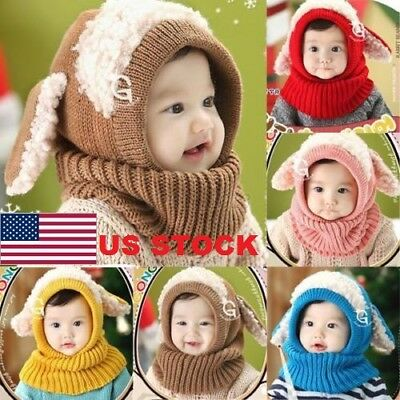 2018 Baby Toddler Girls Boys Warm Hat Winter Earflap Knitted Cap Coif Hood Scarf