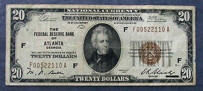 1929 Federal Reserve Bank ATLANTA, GA $20 National Currency Note - Circulated