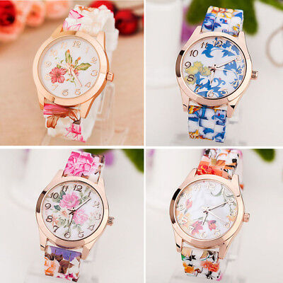 Women's Casual Watch Silicone Band Printed Flower Causal Quartz Wristwatches