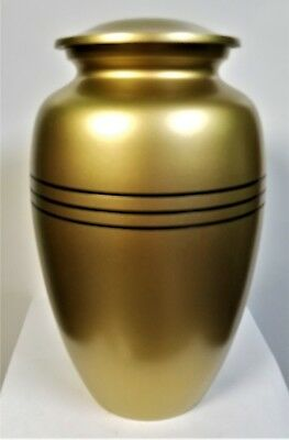 """Cremation Urn, Adult, """"Classic Gold"""", Metal, New , with screw lid. 200 ci"""