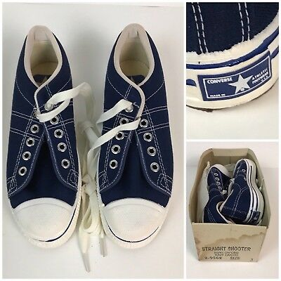 Vintage NOS 1970s Kids Converse Blue Label Straight Shooters Basketball Shoes