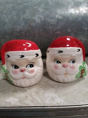Vtg Santa Clause Head Salt Pepper Shaker Set Josef Original Korea Christmas S&P
