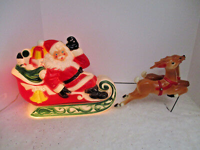 Vintage 1970 Christmas Blow Mold Lighted Santa /Sleigh and Reindeer EMPIRE WORKS