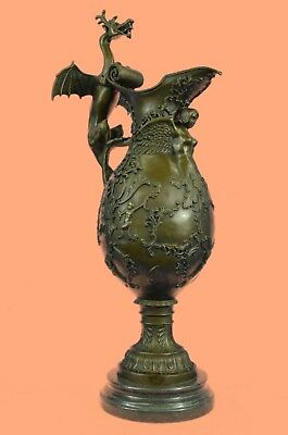 Design Cast Metal Dragon Dragons URN VASE Greek Brass Bronze Vintage European