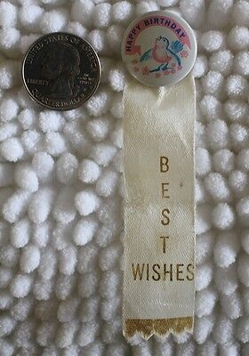 Happy Birthday Best Wishes Cute Bird Vintage Pinback Button With Ribbon #24033