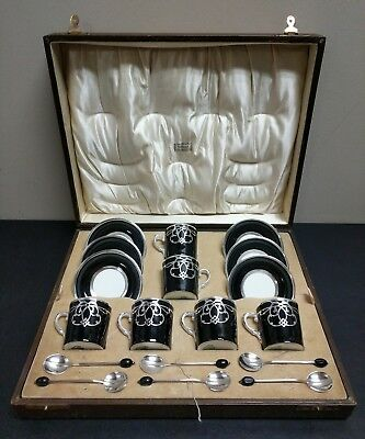 Antique Aynsley China Sterling Silver Overlay Demitasse Set in Fitted Box