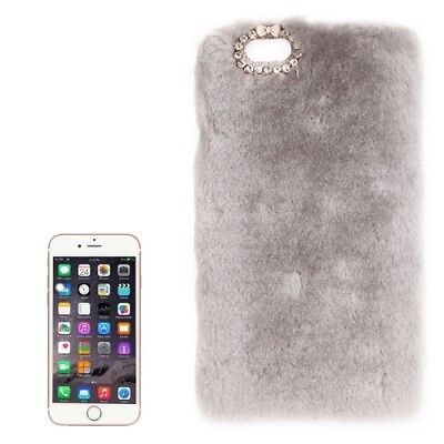 Iphone 6/6s Étui de Protection Peluche Bumper Fourrure Strass Bling Sac Gris