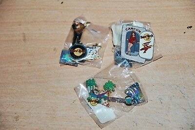 2nd lot HARD ROCK CAFE' CANCUN lot of 3 pins from 2002 DISCONTINUED & RARE !!