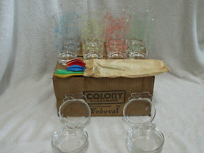 1950's 24 Pc Colony Glass Star Dust Ice Tea Bar Ware Set New in Box Pink Blue