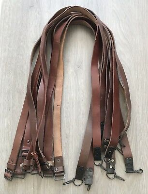 One (1) Vintage Romanian Leather AK SKS Sling W/ Buckles VG Condition