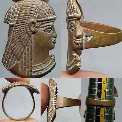 Stunning Face Queen Old unique  Wonderful Carved Head Ring     # 3E