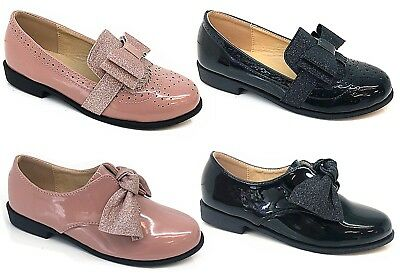 New kids Girls Children Glittery Bow Flat Fashion Back To School Shoes Loafers