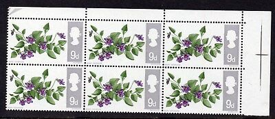 1967 Flowers 9d UM/MNH Inverted Watermark SG721Wi Corner Block Of 6 Cat £7.80
