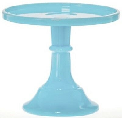 """Cake Plate Pastry Tray Bakers Stand Plain Simple Robin Egg Blue Mosser Glass 6"""""""