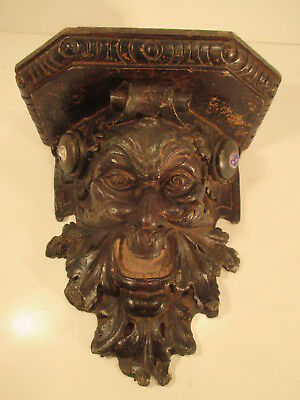 Antique Black Forest Carved Wood Wall Bracket With Green Man/Devil Head