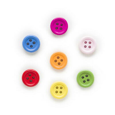 100pcs 4 Hole Mixed Round Wood Buttons Sewing Scrapbooking Home Decor 15mm