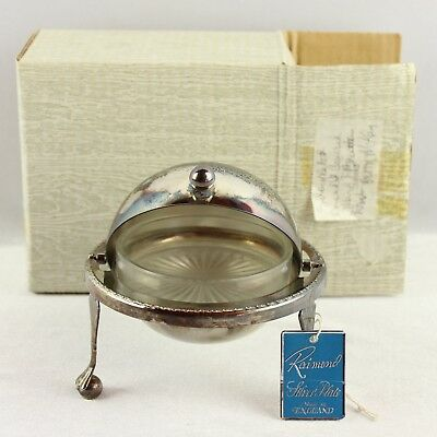 Vtg Raimond Silver Plate Butter Serving Dish Round Globe Made in England Glass