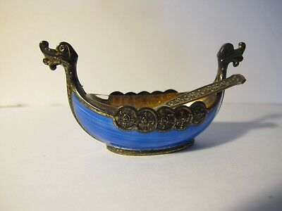 NORWAY STERLING SILVER 925 BLUE ENAMEL VIKING SHIP SALT CELLAR with SALT SPOON