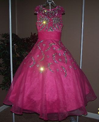 STUNNING!! Long Pageant Dress Girls Sz6/8 EXQUISITE JEWELS   NEW W/O TAGS