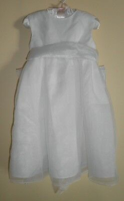 White Tea Length Flower Girl or Christening Dress- 24 mo - New with Tags