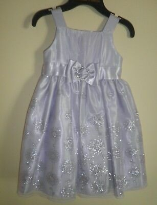 Sparkling Silver and Purple Sleevless Flower Girl or Fancy Dress- 4T -Worn Once