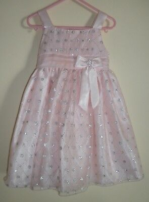 Sparkling Silver and Peach Sleevless Flower Girl or Fancy Dress- 4T -Worn Once