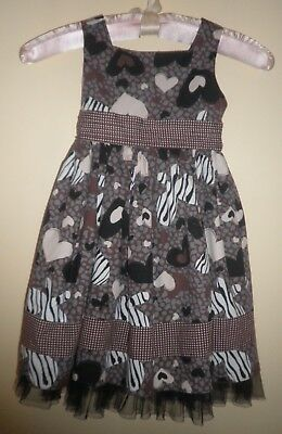 Black, Brown, Creme Abstract Heart Design Fancy Dress -Youngland- 4T -Worn Once
