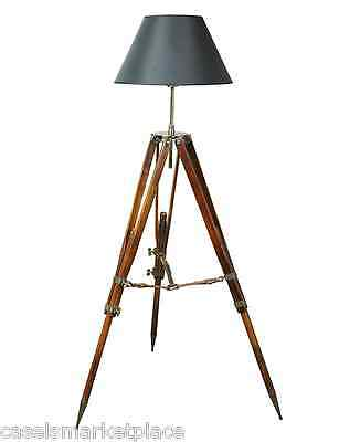 AUTHENTIC MODELS Campaign Tripod Electric Floor Lamp Black Shade Nautical Light