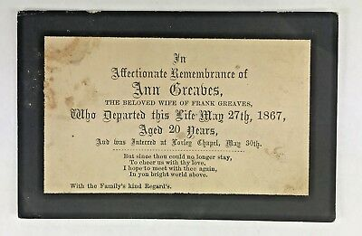 Antique 1867 In Memoriam Funeral Remembrance Card Ann Greaves Foxley Chapel