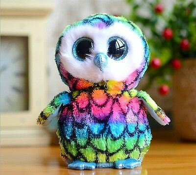 "6"" Cute Color Owl TY Beanie Boos Plush Stuffed Toys Glitter Eyes"
