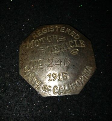 1915 State of California Registered Motor Vehicle License Pin Car Rare Vintage*