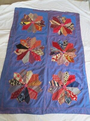 COLORFUL 1900s  CRAZY QUILT FROM VINTAGE MEN'S TIES HAND PIECED