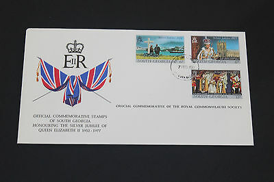 South Georgia 1977 Qe2 Silver Jubilee On Scarce Royal Society First Day Cover