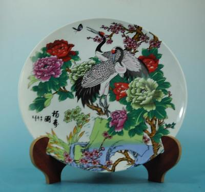 China old porcelain famille rose flower and crane plate/qianlong mark 26 b02