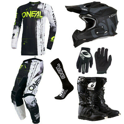 ONeal Element Shred Black motocross gear - Jersey Pants Gloves Boots Helmet set