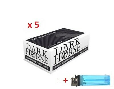 500 Carbon Dark Horse King Size Filter Tubes Empty Tobacco Cigarette fillers