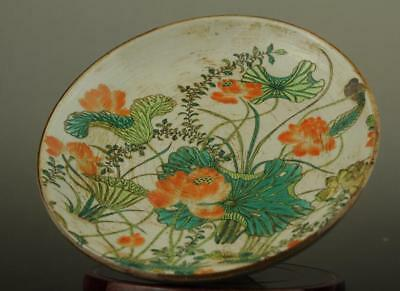 Old china  hand-made famille rose porcelain Hand painted lotus compote b02