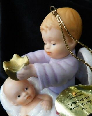 Ashton Drake Heirloom Christmas Ornaments Baby Jesus and Angel 1997 4""